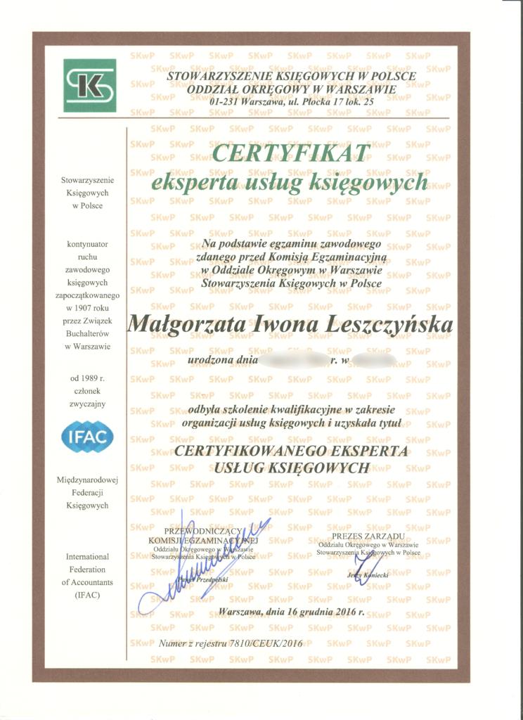 Certyfikat experta usług księgowych